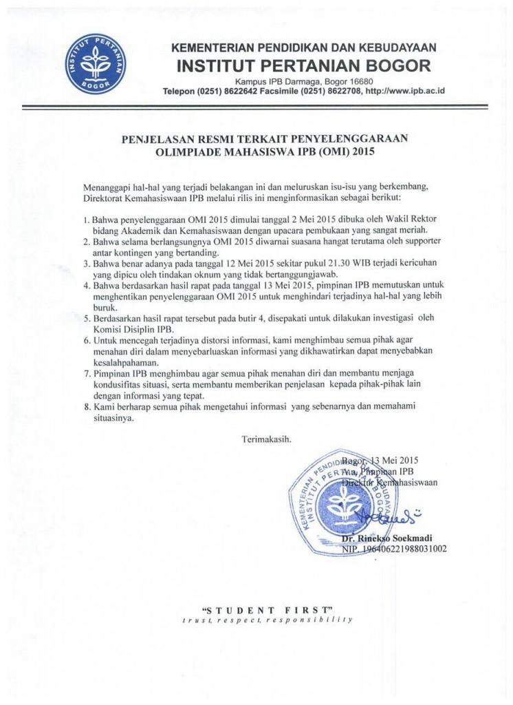Pres Rilis Penjelasan Resmi Terkait Penghentian OMI 2015