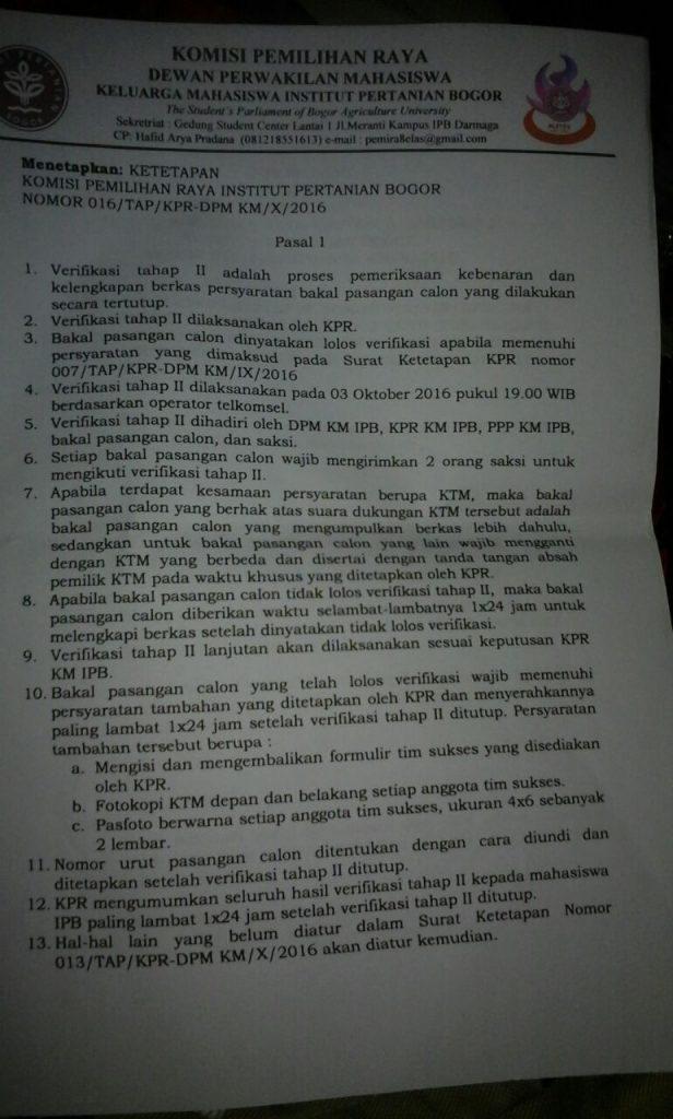 Surat Keputusan KPR nomor 16 yang dirilis tanggal 3 Oktober 2016.