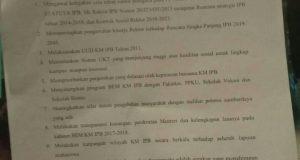 10 poin kontrak sosial kepada kedua pasangan calon Presma dan Wapresma (foto : istimewa)