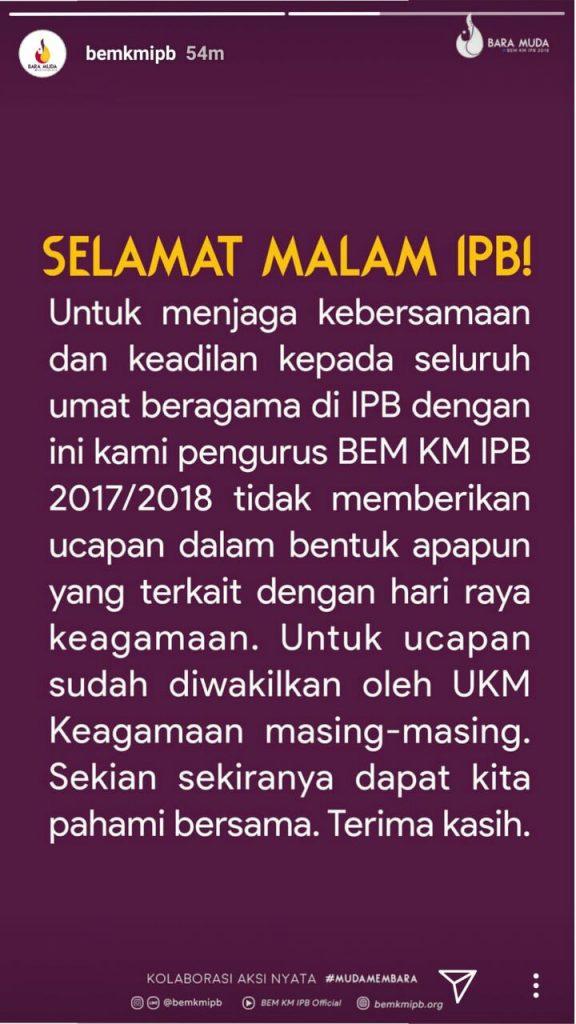 Pernyataan BEM KM IPB terkait pemberhentian ucapan perayaan keagamaan, Senin lalu (25/12).